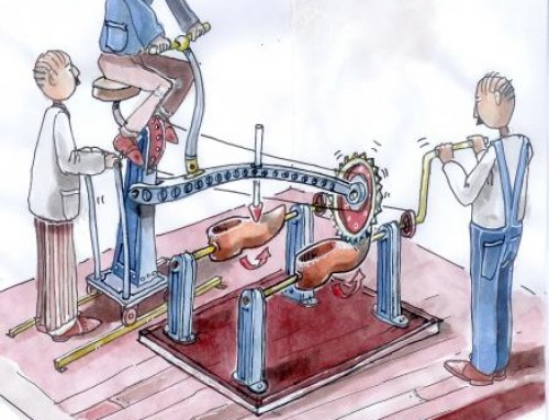 The Man powered clog making machine